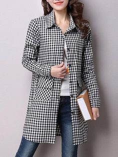 2019 Autumn Women New Simple All-Match Loose Shirt Turn Down Collar Plaid Female Blouses Casual Long Sleeve Mid Top Cheap Blouses, Blouses For Women, Plaid Tunic, Loose Shirts, Long Sleeve Tunic, Long Blouse, Plus Size Blouses, Tunic Tops, Casual