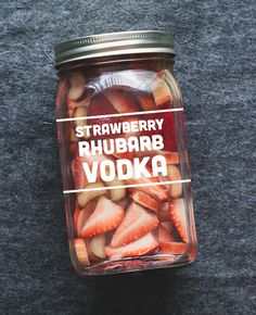 Strawberry Rhubarb Vodka | I saw this and thought of you, @Kendra Myers! I'll have to bring you vodka one day and you need to start growing rhubarb!!