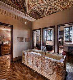 Renaissance retreat: At Il Salviatino in Florence, the Affresco suite's showpiece is its uniquefreestanding ancient stone bathtub