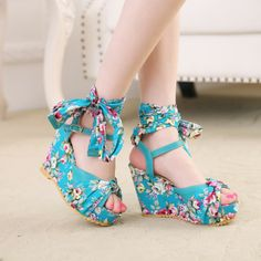 2014 Real Seconds Kill Women Medium(b,m) Rubber Pu Adhesive Strap Floral Free Shipping New2014 Summer Bohemian Strap High Heels $29.00