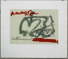 Artist: Antoni Tàpies, title: Internartionale amnesty (Amnistia International), technology: Etching, aquatint, collage, Vernis Mou