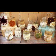 Set of 12 Fall Mason Jars for a Wedding Shower, Wedding, Baby Shower, or Backyard Decoration.  www.etsy.com/shop/LaceTwineAndBurlap