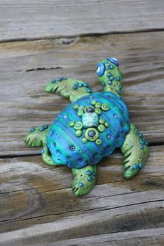 Blue Green Sea Turtle Polymer Clay Sculpture by mirandascritters, $35.00