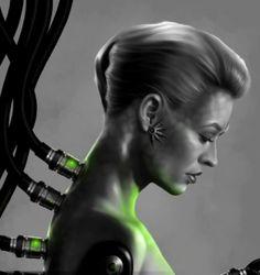 Star Trek Voyager - Mirror Seven of Nine (Jeri Ryan) Art Work by on deviantART. Star Trek Borg, Star Wars, Star Trek Voyager, Deep Space Nine, Akira, Cyborg Girl, Seven Of Nine, Diary Of A Madman, Captain Janeway