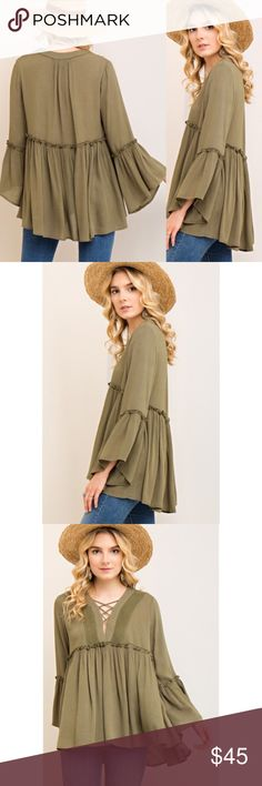 Coming Soon! Boho Crochet Ruffle Top Lightweight, semi-sheer, boho crochet top!  Ruffle, empire waist hem and ruffle sleeves.  Adorable! Color: Olive Green The Chic Petunia Tops Blouses