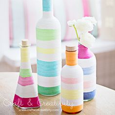 Recycle you old glass bottles. Decorate them with yarn and decoupage glue. (in English and Swedish)