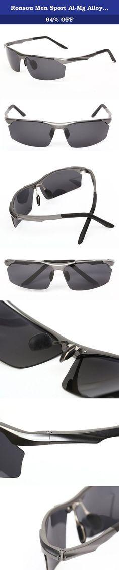 7b54a78d4d3 Ronsou Men Sport Al-Mg Alloy Frame Polarized Sunglasses Fashion Driving  eyewear gray frame