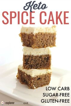 Fall spices flavor this best ever keto spice cake. Gluten-free, sugar-free with … Fall spices flavor this best ever keto spice cake. Gluten-free, sugar-free with a deliciously dreamy cream cheese frosting, it may be the perfect cake for a keto diet. Keto Desserts, Keto Friendly Desserts, Sugar Free Desserts, Keto Recipes, Dessert Recipes, Sugar Free Foods, Holiday Desserts, Diabetic Recipes, Keto Holiday