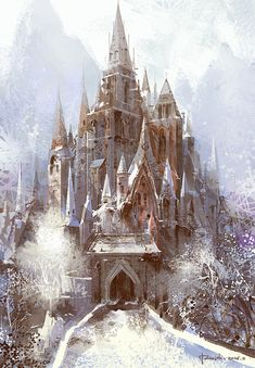 PaperBlue Studio | castle snow mountain