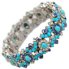 Sapphire Diamond and Turquoise Bracelet  Continental  1990's