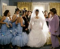Nia Vardalos. My Big Fat Greek Wedding. 2002. Michael Clancy. (And the blue, halter, mermaid bridesmaids frocks!)