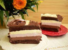 Tort cu trei tipuri de mousse, în trei culori - Rețete Merișor Mousse, Thing 1, Amazing Cakes, Vanilla Cake, Ice Cream, Sweets, Desserts, Recipes, Food