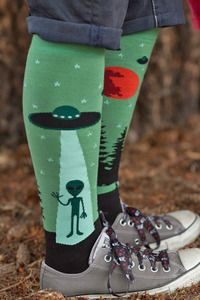 I Believe Knee High - A strange stranger has beamed down to your ankles from an unidentified (but familiar) flying object. I wonder what they want? Probably to tell you that those are a great pair of shoes.
