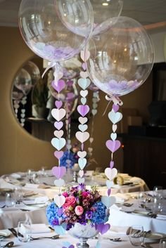 Balloon decoration with heart garlands