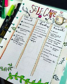 Bullet Journal Self-Care Page Ideas Bullet Journal Self-Care Page Ideas. Here are bullet journal pages to help you include self-care in your daily routine through daily habit trackers, self-care collection lists, gratitude logs, mood trackers and more. Self Care Bullet Journal, Bullet Journal Notebook, Bullet Journal Inspo, Bullet Journal Spread, Bullet Journal Layout, Bullet Journal Ideas Pages, Bullet Journals, Journal Pages, Art Journals