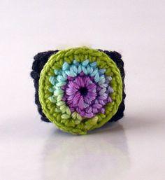 Crochet Ring Fiber Ring  Circle Design Pastel by Nothingbutstring. , via Etsy.