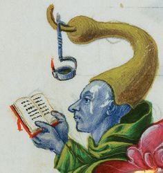 A blue man reading a book by the light of a lamp hanging from a hook attached to his hat. Marginalia from a six-volume Gradual, tempera + gold leaf + ink on parchment, Italian, circa 1460-1480 (J. Paul Getty Museum, Los Angeles, ms. Ludwig VI 2).