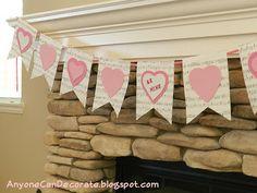 Valentine's Day Bunting Flag Banner...
