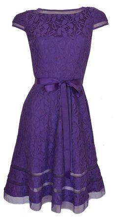 Purple Lace Cap Sleeve 50's Style Cocktail Party Dress 'Milena'