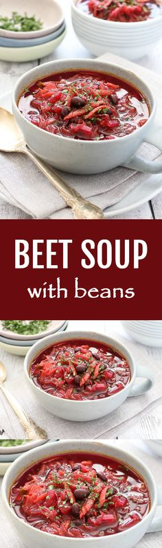 Beetroot Soup with Beans Recipe. This healthy and easy to make beet soup is full of wonderful nutrients and fiber. Make a big pot and enjoy all week long.