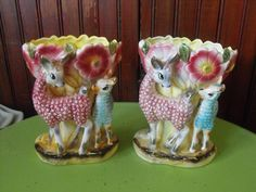 Vintage Made In Japan Lamb Llama Spotted Deer Luster Vase Set of 2 SUPER CUTE by peacenluv72 on Etsy