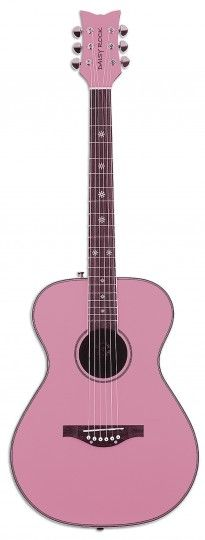 Pixie Acoustic - Powder Pink • • • $219.95 • • • The Pixie Acoustic guitar is a full scale instrument designed especially for girls. This dazzling sparkle-finished guitar is lightweight and it sounds great! • • • Daisy Rock Girl Guitars® and DRG®
