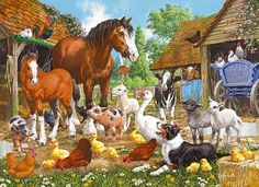 Vintage Animal Illustrations | ANIMAL FARM' Jigsaw Puzzle by Gibsons (1000 pieces) - VINTAGE TOYS ...