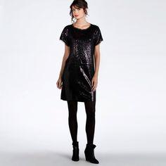 robe sequins manches courtes noire
