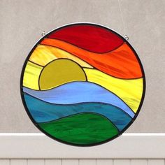 Stained Glass Rainbow Sunset Suncatcher by FoxStainedGlass on Etsy