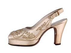 Cream satin peep-toe platform shoes with, decorated with gilded thread on the vamps, USA, 1940's
