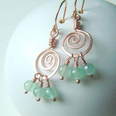 Coiled Hoop Earrings Copper Wire Wrap Green Aventurine summer fashion boho copper jewelry. $25.95, via Etsy.