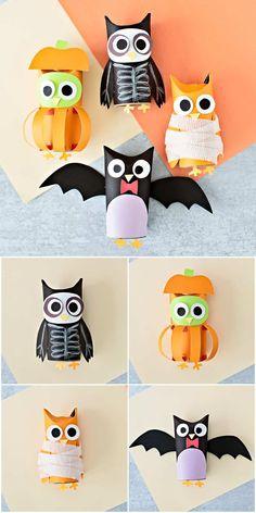 Diy Halloween Treats, Halloween Owl, Halloween Crafts For Kids, Paper Crafts For Kids, Halloween Projects, Crafts To Do, Toddler Crafts, Preschool Crafts, Owl Kids
