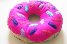 Large Felt Donut Cushion Doughnut Pillow Bright Pink by peenanator