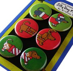 Christmas Dachshunds Silly Dog Magnet Gift Set by SillyDogMagnets, $8.99