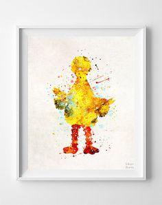 Big Bird Print Sesame Street Poster Watercolor Art by InkistPrints
