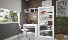 Conjunto para Escritório com Estante, Escrivaninha 1 Gaveta e Nicho Branco - Caaza | Lojas KD