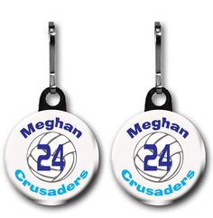 2 One Inch Personalized Volleyball Zipper Pull by ButtonsbyDoug