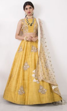 Buy Kings Fashion Bazaar Women's Silk Semi-Stitched Lehenga Choli Size) online in India at best price.yellow art silk embroidered A-line lehenga choli set Brand Name : fabdiwa fashion Product Descriptio Yellow Lehenga, Red Lehenga, Raw Silk Lehenga, Lehenga Designs, Lehenga Choli, Bridal Lehenga, Pakistani Bridal, Lehnga Choli For Girls, Anarkali Dress
