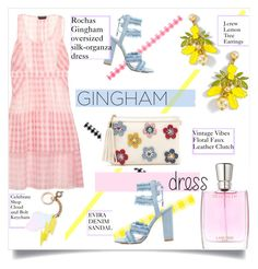 """""""Check Republic: Gingham Dress"""" by sofirose ❤ liked on Polyvore featuring Rochas, J.Crew, Lancôme, Celebrate Shop, Spring, dress, gingham and topset"""
