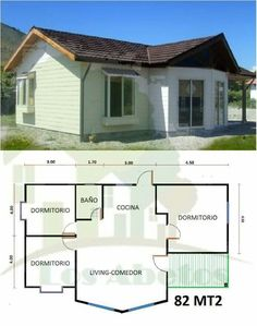 Tiny House Cabin, Small House Plans, House Floor Plans, Cottages And Bungalows, Small Cottages, 2 Bedroom House Plans, House Construction Plan, Casas Containers, Cottage Plan