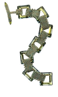 Bracelet with Swarovski Crystal Open Square Focal Components and Seed Beads - Fire Mountain Gems and Beads