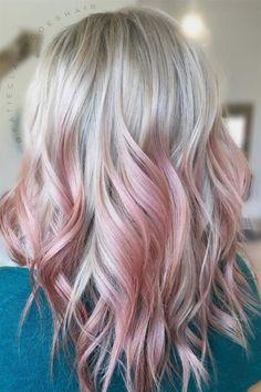 #OmbreHairColor Pink Peekaboo Highlights, Blonde Hair With Pink Highlights, Blonde To Pink Ombre, Blond Pastel, Pastel Pink Hair, Blonde With Pink, Ombre Hair Color, Blonde Pink Balayage, Pink Peekaboo Hair