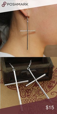 Cross earrings Cross earrings. 3 x 1,5 inches Jewelry Earrings