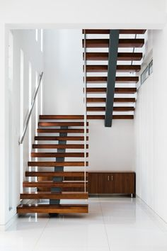Image 1 of 26 from gallery of Tree Hugger / architects. Photograph by Gokul Rao Kadam Steel Stairs Design, Home Stairs Design, Home Interior Design, Staircase Handrail, House Staircase, Modern Staircase, Unique House Design, Dream Home Design, Kerala Traditional House
