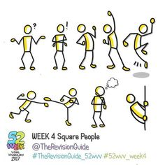 Week 4 of the 52 week visual vocabulary challenge for 2017 is here! 🎉🎉🎉🎉 It's all about square people. Add bubbles (speech/thought),… Doodle Lettering, Hand Lettering, Stick Figure Drawing, Figure Drawings, Visual Note Taking, Doodle People, Business Cartoons, Note Doodles, Sketch Notes