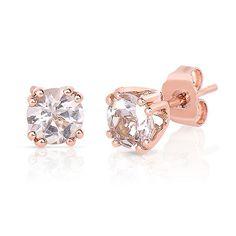 Morganite Stud Earrings in 10K Rose Gold