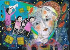 Mixed Media Painting Print Modern Folk art ethereal love comfort woman girl