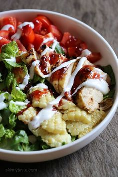 BBQ Chicken Salad – an easy end-of-summer salad! http://www.skinnytaste.com/2015/08/bbq-chicken-salad.html?showComment=1439595239038