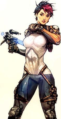 Killer Argent, Cyberforce Hunter artwork by Kenneth Rocafort. Visit http://digitalart.io for more great digital art.