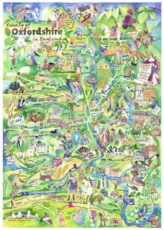 Hand painted map of the county of Oxfordshire. Prints here >> http://pr-nt.me/oxonmap